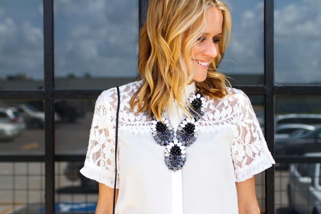 Lyndsey White lace top Black and White - 20