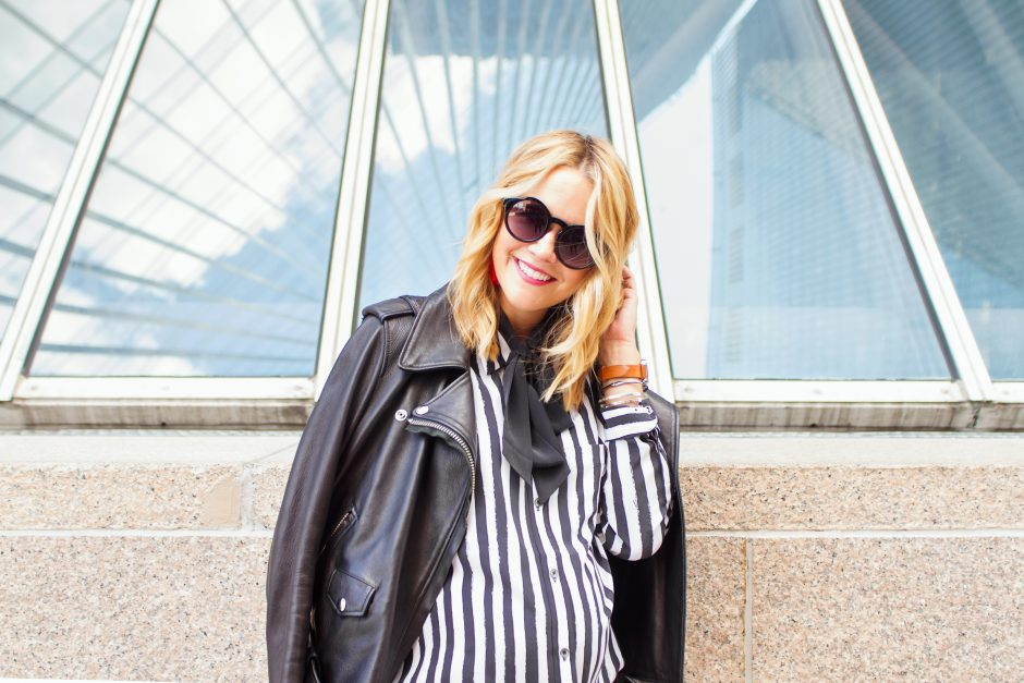 Equipment top lyndsey-black-and-white-with-leather-jacket-8